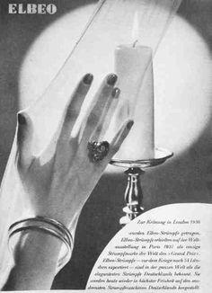 """""""Zur Krönung in London wurden Elbeo - Strümpfe getragen und erhielten auf der Weltausstellung 1937 als einzige Strumpfmarke den Grand Prix."""""""