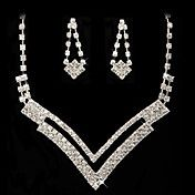 Rhinestone Dignified Necklace And Earring Set – USD $ 14.39