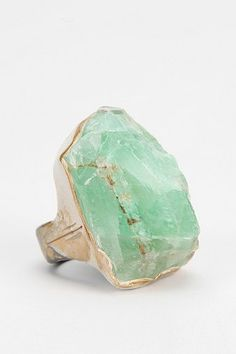 Green Geode Ring with a Calcite Stone