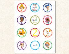 Bubble Guppies Cupcake Toppers Stickers or by MagentaPrintsDigital, $4.00