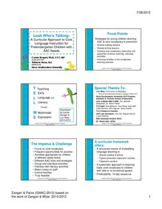 Slide show on teaching CORE VOCABULARY by-zangari-paiva-a preconference-workshop-handout by PrAACticalAAC via Slideshare