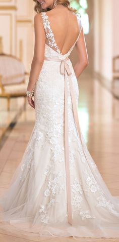 wedding dress #wedding #dresses I love the lace at the top, and the flow of the dress, plus not too tight or ballgownsy, almost perfect! Fit And Flare Wedding Dress, New Wedding Dresses, Bridal Dresses, Lace Beading, Beaded Lace, Wedding Ideas, Trendy Wedding, Wedding Images, Buttons Ideas