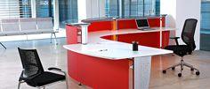 Recepción de oficina en rojo