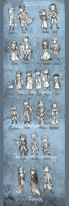 The lunar chronicles cast by sorcaron on deviantart This Is A Book, Love Book, Lunar Chronicles Cinder, Marissa Meyer Books, Harry Potter, Red Queen, Book Fandoms, Book Nerd, Moleskine