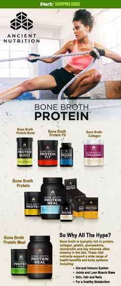 For a different type of protein, consider Bone Broth from the Ancient Nutrition Brand. Follow the link in the graphic to learn more about these products.