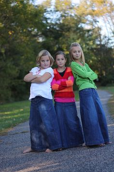 Long Denim Jean Skirts | Girls Long Jean Denim Skirt size 8 by ...