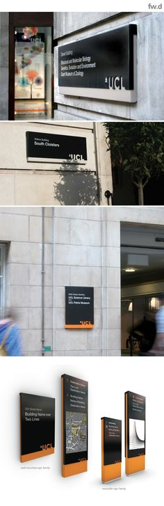 Signage design for University College London by fwdesign. www.fwdesign.com