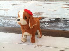 Retro Dog in Beret Stuffed Wind Up Toy by happydayantiques Up Dog, Berets, Toy Collector, Vintage Children, Dog Toys, Kitsch, Making Out, Curly Hair, Gifts For Kids