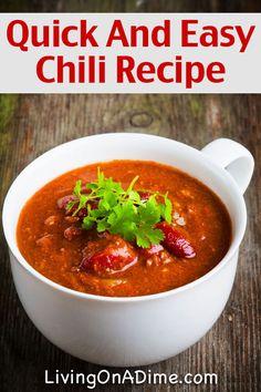 Quick And Easy Homemade Chili Recipe - 10 Crockpot Recipes Under $5
