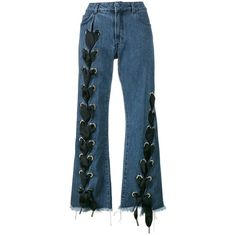 Marques Almeida Blue Lace Up Wide Leg Jean (10.000 ARS) ❤ liked on Polyvore featuring jeans, pants, blue, lace up jeans, wide leg jeans, blue jeans and wide leg blue jeans