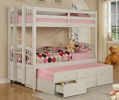Powell Furniture May Twin Size Bunk Bed in Pure White LOVE the ladder at the end Bunk Beds Small Room, Girls Bunk Beds, Wood Bunk Beds, Bunk Beds With Stairs, Kid Beds, Bunk Rooms, Twin Full Bunk Bed, Twin Twin, Powell Furniture