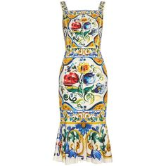 Dolce & Gabbana Majolica-print charmeuse dress (41341340 BYR) ❤ liked on Polyvore featuring dresses and dolce gabbana dresses