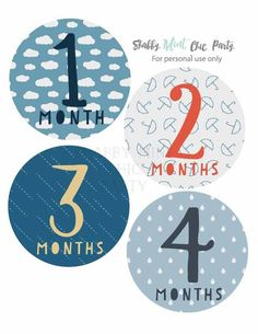 Baby Monthly Milestone Bodysuit stickers. Rain Theme Stickers DIY. New Baby Gift. INSTANT DOWNLOAD. - pinned by http://pin4etsy.com