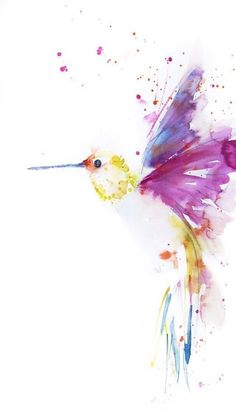 Contemporary animal and floral art prints from original watercolor paintings … Description This is a print of my original watercolor Hummingbird. I will sign each print individually and place it in a cellophane bag. The print is dismantled and unframed, Watercolor Hummingbird, Hummingbird Art, Watercolor Bird, Watercolor Paintings, Tattoo Watercolor, Hummingbird Illustration, Painting Tattoo, Tattoo Art, Watercolor Animals