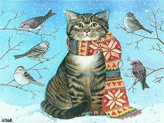 Кот и птички зимой. - анимация на телефон №1365832