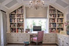 Office built ins THIS IS MY ULTIMATE DREAM OFFICE! Feminine style, yet you're really able to work in it. Built-ins provide all the organizational space needed for books, files, supplies, etc. Home Office Space, Home Office Design, Home Office Decor, House Design, Home Decor, Office Ideas, Attic Office, Bonus Room Office, Attic Library