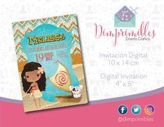 Moana, Moana invitación, Moana Fiesta, Moana invitación Digital, Moana Invitation, Moana Digital, Moana Printable