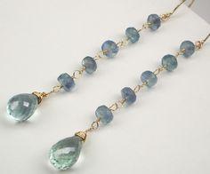 Blue Green Fluorite Wire Wrapped Dangle Earrings Long Blue Green Earrings 14kt Gold Filled Spring Fashion