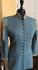 Women's Double D Ranchwear Blue Green Wool Aztec Tribal Jacket Beaded Fringe M