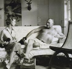 Jean Patchett and Ernest Hemingway, by Clifford Coffin, Vogue, 1950