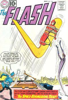 The Flash - The Space-Boomerang Trap!/Vengeance Via Television! Comic Books For Sale, Dc Comic Books, Comic Book Artists, Comic Book Covers, Comic Art, Flash Comics, Dc Comics Art, Marvel Comics, Marvel Vs