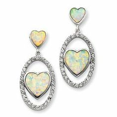 Sterling Silver Created Opal & CZ Heart Post Earrings PriceRock. $71.96. Save 81% Off!