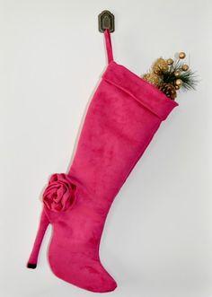 Pink high heel boot christmas stocking. | zorraindina - Seasonal on ArtFire