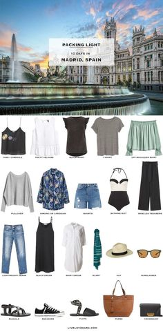 Packing List: 10 days in Madrid, Spain in Summer 2017 - What to Pack. livelovesara #travelpacking