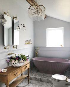 Pink Tub, Pink Baths, Bathroom Goals, Bathroom Inspo, Bathroom Designs, Bathroom Ideas, Downstairs Bathroom, Traditional Bathroom, Bathroom Fixtures