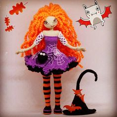 This girl - doll witch, looking for the owner. Рas a very kind nature and cunning eyes ) The pumpkin and spider as a gift. The doll is 20 cm high without hat. The hat is removed. It has a wire frame, arms and legs bend. Crocheted with cotton thread, painted with paints. Not for small