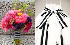 Ramo en color rosa fuerte con detalles morados y amarillos :: Bright pink wedding bouquet with purple and yellow details