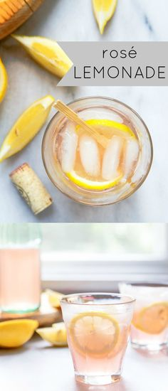 Rosé lemonade recipe made using fresh lemonade and your favorite bottle of rosé wine! This rose lemonade is your new cocktail to sip by the pool all summer long! #rose #rosé #yeswayrosé #cocktail #lemonade #wine #winecocktail via @dessertfortwo