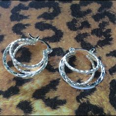 """Nice size Triple silver Hoop Earrings Gorgeous Triple Hoop Earrings 1"""" long these are Not marked. Silver plated pretty! Jewelry Earrings"""