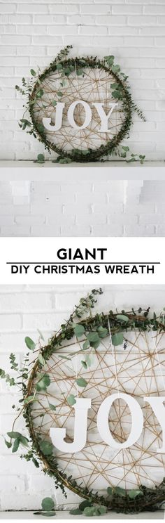 Make a giant DIY Christmas wreath out of a hula hoop and eucalyptus for some rustic and modern holiday decor!