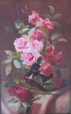 Oil on canvas painting of Roses. Size 17 1/4 x 11. Unsigned. Frame, circa 1890-1920, has an A. Hospe Company, artistic framing label. This