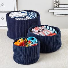 Small Kneatly Knit Rope Bin (Dk. Blue) | The Land Of Nod