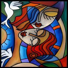 Art: Cubist 124 2424 W Original Cubist Art Fly With Me by Artist Thomas C. Fedro