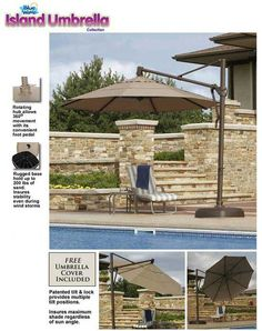 The Bimini cantilever umbrella brings elegant shade to your patio as well as effortless operation. Umbrella Cover, Beach Umbrella, Pool Shade, Pool Umbrellas, Outdoor Pool, Outdoor Decor, Cantilever Umbrella, Backyard Kitchen, Pool Equipment