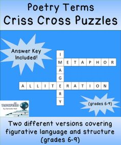 """#FreebiesLoveFeedback -- Pair of criss cross puzzles based on Poetry Terms. One is an """"easy"""" version that covers basic figurative language. One is a """"harder"""" version that includes all figurative language terms and structure terms (couplet, stanza, etc.). (grades 6-9)"""