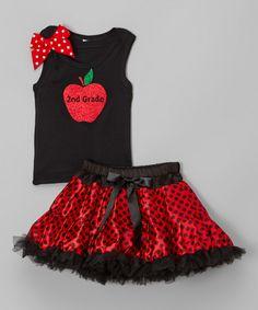 Look at this #zulilyfind! Black & Red Apple '2nd Grade' Tank & Pettiskirt - Girls by So Girly & Twirly #zulilyfinds