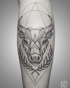 geometric line tattoo Hand Tattoos, Ox Tattoo, Cool Wrist Tattoos, Calf Tattoo, Forearm Tattoo Men, Sleeve Tattoos, Tattoos For Guys, Toros Tattoo, Taurus Bull Tattoos