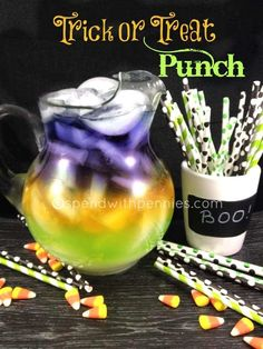 Trick or Treat Halloween Punch recipe. This layered punch is always a crowd pleaser at parties and is really fun for kids!