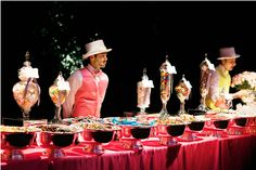 Dylan Lauren Wedding candy bar --- love the hat with candy dots as the band on the hat York Candy, Dylan's Candy, Candy Bar Party, Candy Bar Wedding, Wedding Reception, Candy Bars, Dessert Buffet, Candy Buffet, Candy Table