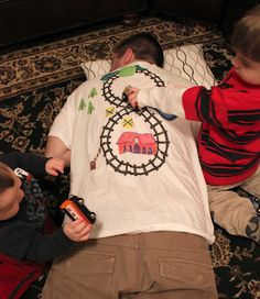 gifts for him fathers day- train track instant massage shirt! ha!