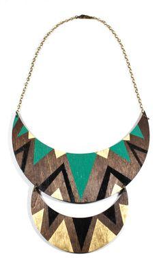Double Crescent Wood Necklace. $50.00, via Etsy.