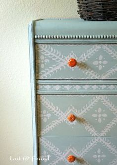 Dresser Makeover | First Coat was Provence Chalk Paint® and second coat was mix of Old White + Provence Chalk Paint® in a 4:1 ratio | Project by Lost and Found Decor