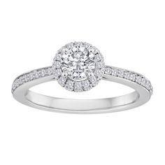 Fink's 14K White Gold Diamond Engagement Ring with Diamond Bolero