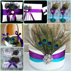 Peacock wedding accessories set