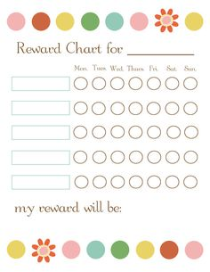 I laminated this printable reward chart so we can use a dry erase marker.  Emerson draws smiley faces in the circles each time she does something on the list (i.e. being extra nice to her sister, cleaning her room, etc.).  We've disregarded the days of the week for now.