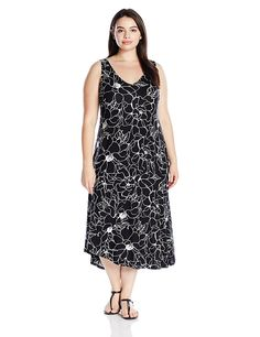 Marc New York Performance Women's Plus Size Asymmetric Printed Slip Dress *** Unbelievable  item right here! : Women clothing